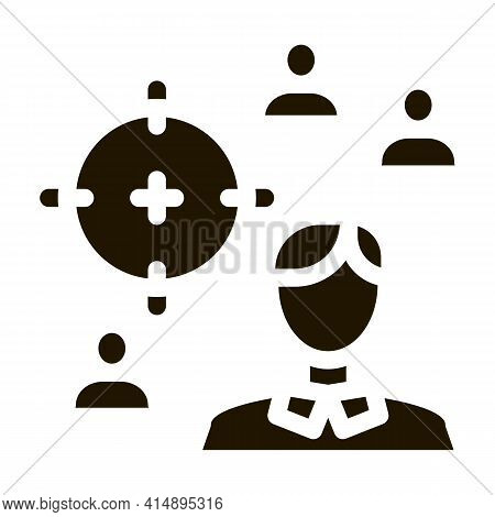 Manager Aim Target Glyph Icon Vector. Manager Aim Target Sign. Isolated Symbol Illustration