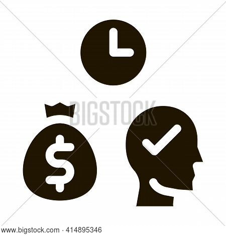 Time For Earn Money Glyph Icon Vector. Time For Earn Money Sign. Isolated Symbol Illustration