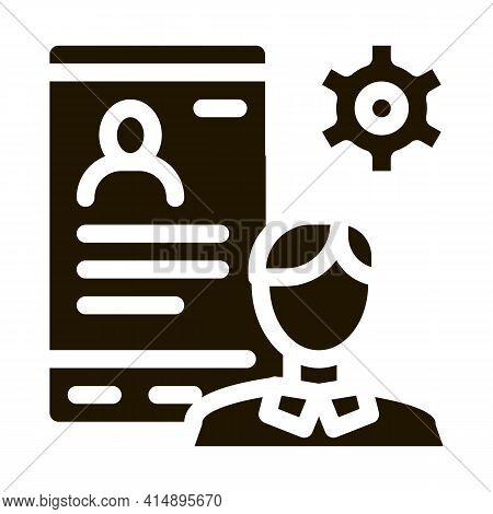 Human Profile On Phone Screen Glyph Icon Vector. Human Profile On Phone Screen Sign. Isolated Symbol