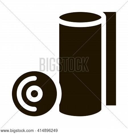 Paper Napkin Roll Glyph Icon Vector. Paper Napkin Roll Sign. Isolated Symbol Illustration