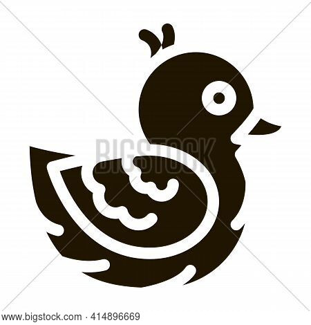 Duck Toy Glyph Icon Vector. Duck Toy Sign. Isolated Symbol Illustration