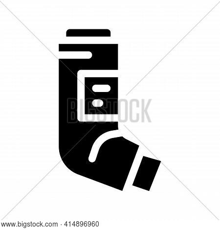 Inhaler Asthma Treatment Tool Glyph Icon Vector. Inhaler Asthma Treatment Tool Sign. Isolated Symbol