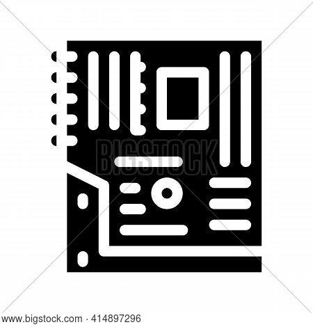 Mainboard Motheboard Computer Part Glyph Icon Vector. Mainboard Motheboard Computer Part Sign. Isola
