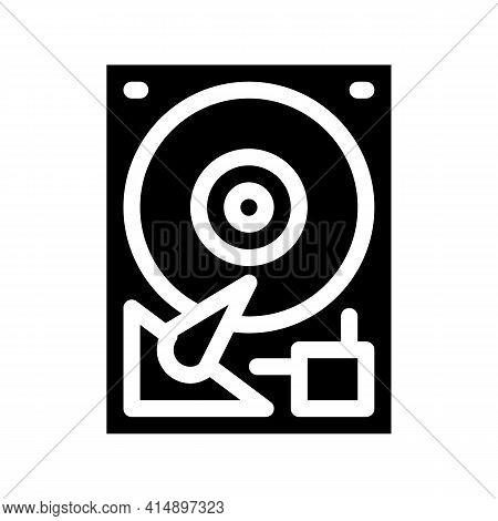 Hard Drive Disk Glyph Icon Vector. Hard Drive Disk Sign. Isolated Symbol Illustration