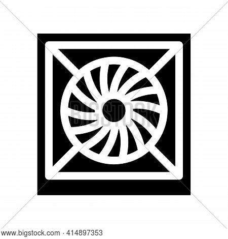 System Fan Computer Component Glyph Icon Vector. System Fan Computer Component Sign. Isolated Symbol