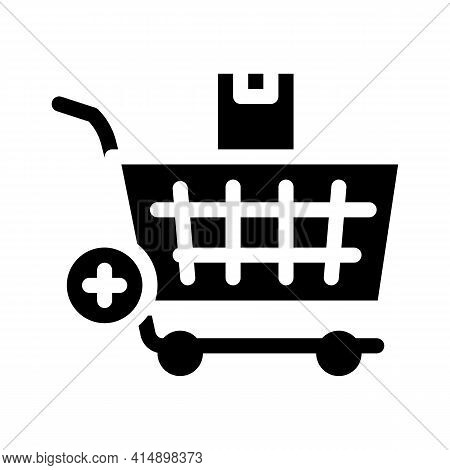 Buying Products And Adding In Market Cart Glyph Icon Vector. Buying Products And Adding In Market Ca