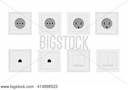 Socket And Switch Electrical Outlet For Electrical Outlets And Electricity Illustration Set Of Diffe