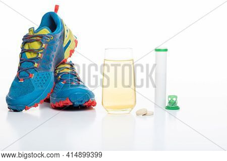Sports Running Shoes And Sports Drink. Sports Vitamins For Runners. Vitamins For Athletes.