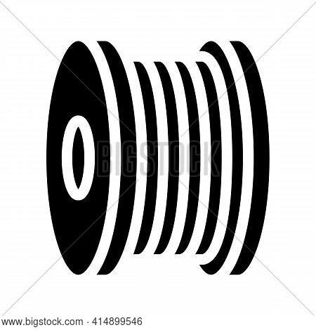 Bobbin Fiber Glyph Icon Vector. Bobbin Fiber Sign. Isolated Symbol Illustration