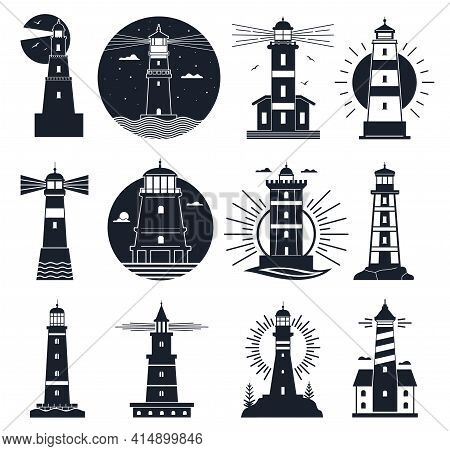 Lighthouses Logo. Nautical Vintage Label, Sea Beacons, Ocean With Waves And Seagulls. Night Lighthou