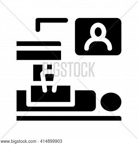 Patient Online Health Examination Glyph Icon Vector. Patient Online Health Examination Sign. Isolate