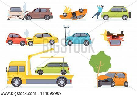 Cars Accident. Insurance Transportation On Tow Truck, Auto Collision With Tree Or Street Light, Hitt
