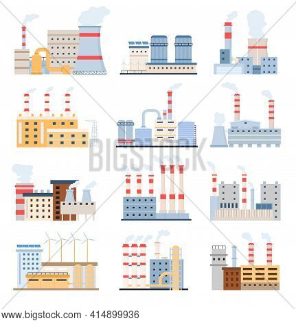 Factory Buildings. Eco Power Plants With Solar Panels And Windmill, Chemical Manufacturing And Indus