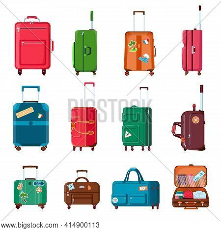 Travel Suitcases. Backpacks, Bags, Plastic Or Metal Open Suitcase With Wheels. Cartoon Tourist Bagga