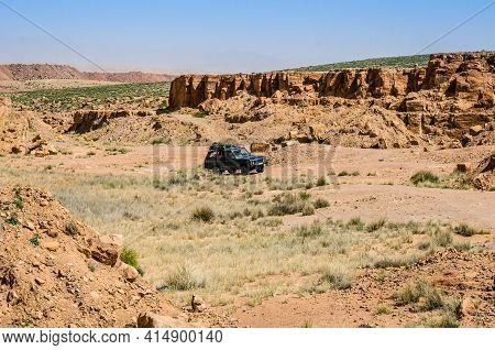 Zaida, Morocco - April 10, 2015. Vintage Off Road Car Moving In Nature Near Midelt