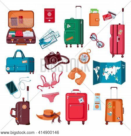 Travel Stuff. Cartoon Luggage, Clothes, Map, Camera, Passport And Airplane Tickets. Packed Suitcase.