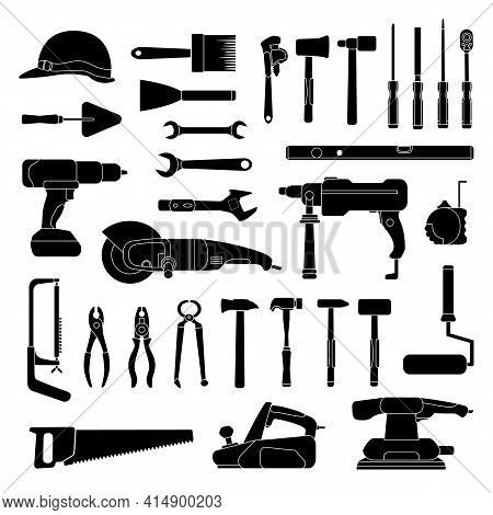 Working Hand Tools Silhouette. Construction And Home Repair Toolkit Logo Icons. Workshop Hardware, D