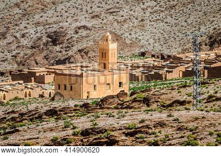 Aouli, Morocco - April 10, 2015. Old Abandoned Orange Mosque In Abandoned Miners Village Near Midelt