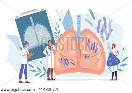 Cartoon Flat Doctor Characters At Work, Physicians With Medical Devices In Uniform Lab Coats Study X