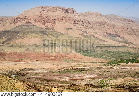 Landscape View With Mountains Around Midelt Province In Morocco In April