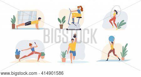Set Of Vector Flat Cartoon Family Characters Doing Indoor Sport Activities, Fitness, Athletics - Hea