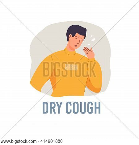Vector Cartoon Flat Patient Character Ill, Sick Person-dry Cough Disease Treatment And Therapy Medic