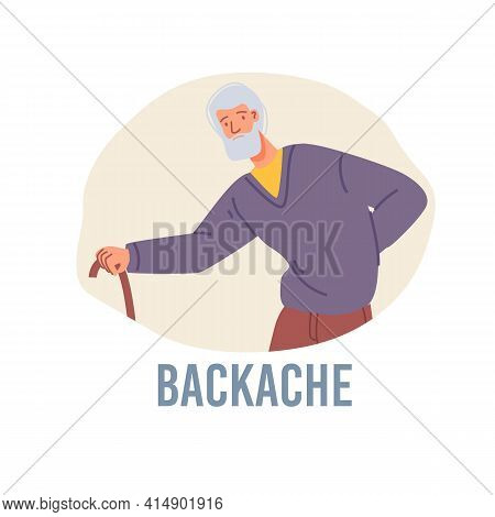 Vector Cartoon Flat Patient Character Ill, Sick Person-backache Disease Treatment And Therapy Medica