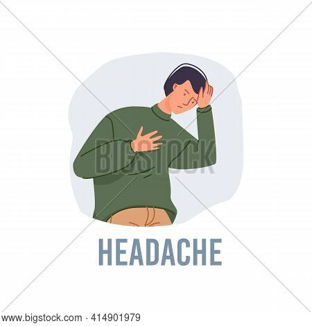 Vector Cartoon Flat Patient Character Ill, Sick Person-headache Disease Treatment And Therapy Medica