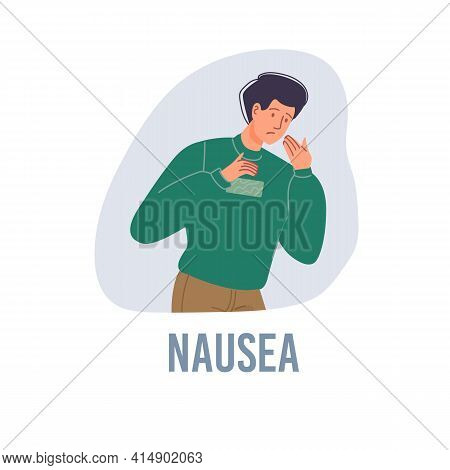 Vector Cartoon Flat Patient Character Ill, Sick Person-nausea Disease Treatment And Therapy Medical