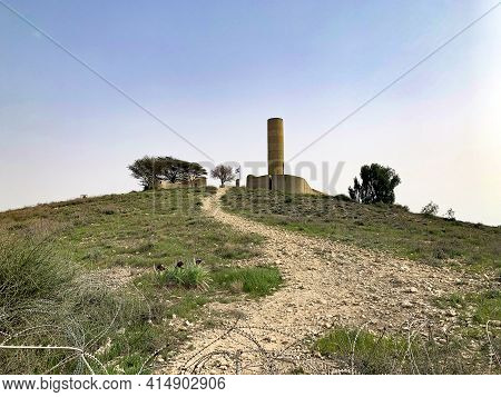 Beer Sheva, Israel - April 04, 2017: Wild Black Irises Bloom Near The Monument In The Memory Of The