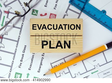 Wooden Blocks With Text Evacuation Plan Architectural Design, Sketch, Drawing Paper, Drawings, Simpl