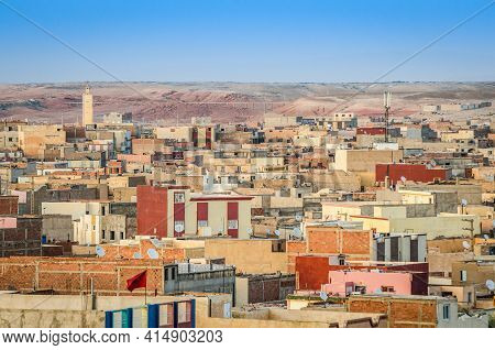 Midelt, Morocco - April 10, 2014. Panorama Of City Which Is Also Called  The Gate To The Atlas Mount