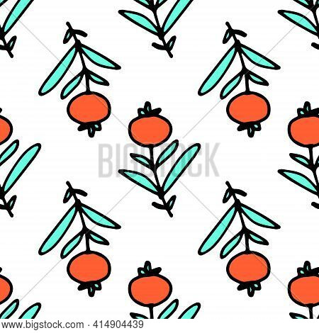 Doodle Sprig Berry Pattern In Doodle Style. Color Pattern, Vector Illustration. Outline Drawing. Pap