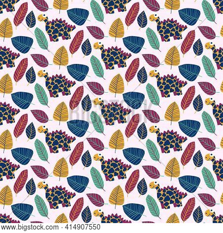 Cartoon Stegosauruses And Leaves Motley Seamless Pattern Vector. Funny Dinosaurs In Jungle Hand Draw