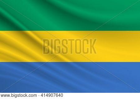 Flag Of Gabon. Fabric Texture Of The Flag Of Gabon.