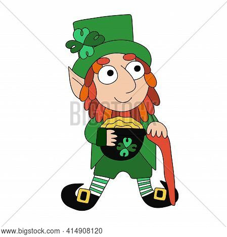Cartoon Leprechaun With Four Leaf Clover, Pot Of Gold And Shillelagh Stock Vector Illustration. Funn