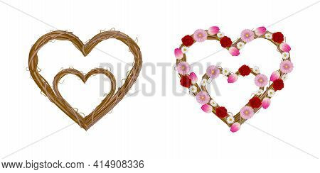Isolated Heart Shaped Garlands With Flowers Mother's Day Wreaths