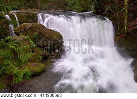 Whatcom Falls Bellingham Washington Usa. Water Pours Over Whatcom Falls In The Pacific Northwest Cit