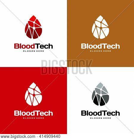 Pixel Blood Logo Symbol, Blood Healthcare Logo Designs Template, Blood Technology Logo Designs Conce