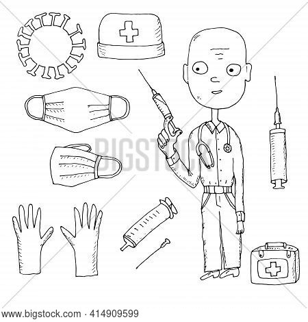 Flat Vector Illustration Of Personal Protective Equipment In The Hospital To Face Covid-19 The Pande