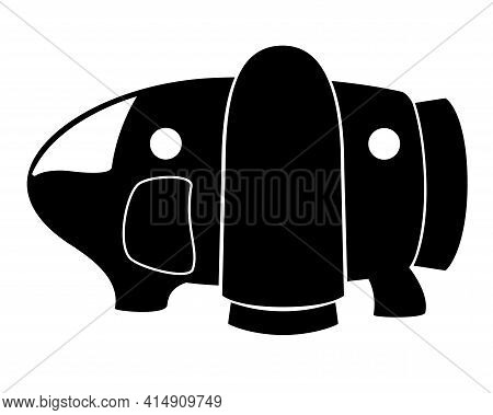 Spaceship - Black Vector Silhouette For Logo Or Pictogram. Spaceship For Space Exploration And Trave
