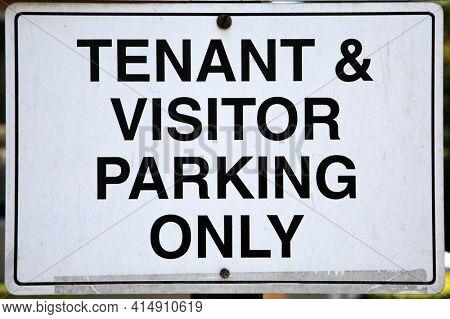Tenant  Visitor Parking Only Sign. Parking Sign. Warning Sign.