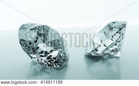 Brilliant cut diamond, precious gem jewelry. 3D illustration