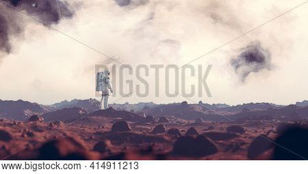 Astronaut exploring Mars, a red planet. Spacewalk. 3D render