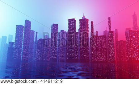 Future city downtown with skyscrapers in neon cyberpunk lights. 3D illustration