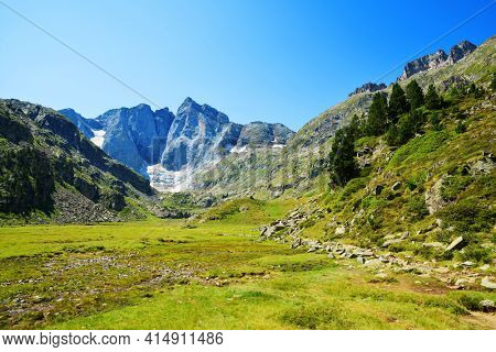 Vignemale massif is highest of the French Pyrenean summits. Department of Hautes-Pyrenees, Occitanie in south of France.