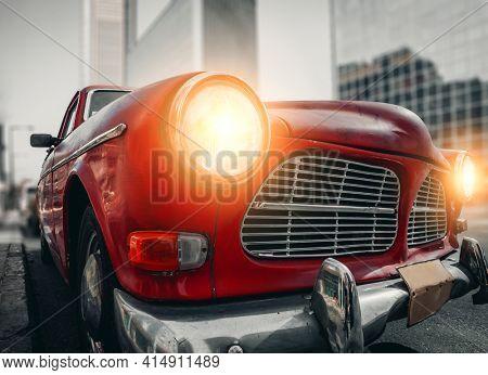 Tel Aviv, Israel 2020: Old Red Car In The Tel Aviv Street, Israel