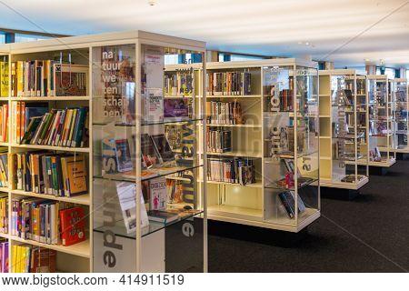 AMSTERDAM NETHERLANDS - APRIL 25, 2017: Interior of Central Public Library on April 25, 2017 in Amsterdam Netherlands.