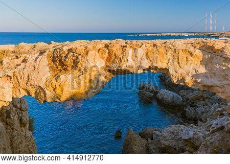 Famous stone Sin Bridge at sunset in Ayia Napa Cyprus - nature background