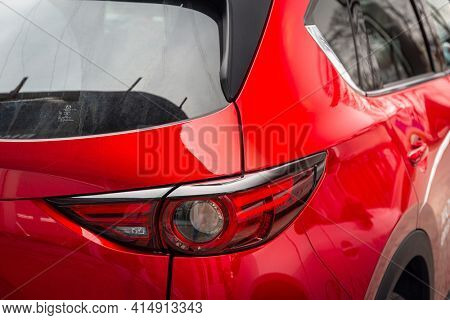 GDANSK, POLAND - MARCH 25, 2018: Rear lights of the Mazda CX-5 at the car showroom in Gdansk, Poland. Mazda CX-5 is a popular SUV car manufactured in Japan by the Mazda Motor Corporation.
